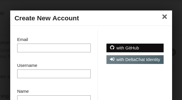 "An account creation form - on the right, it says ""With Delta Chat""."